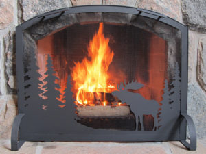Fireplace Screen with Moose Motif